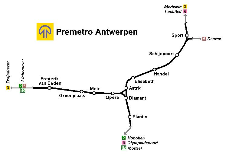 Metrokaart van Antwerpen.