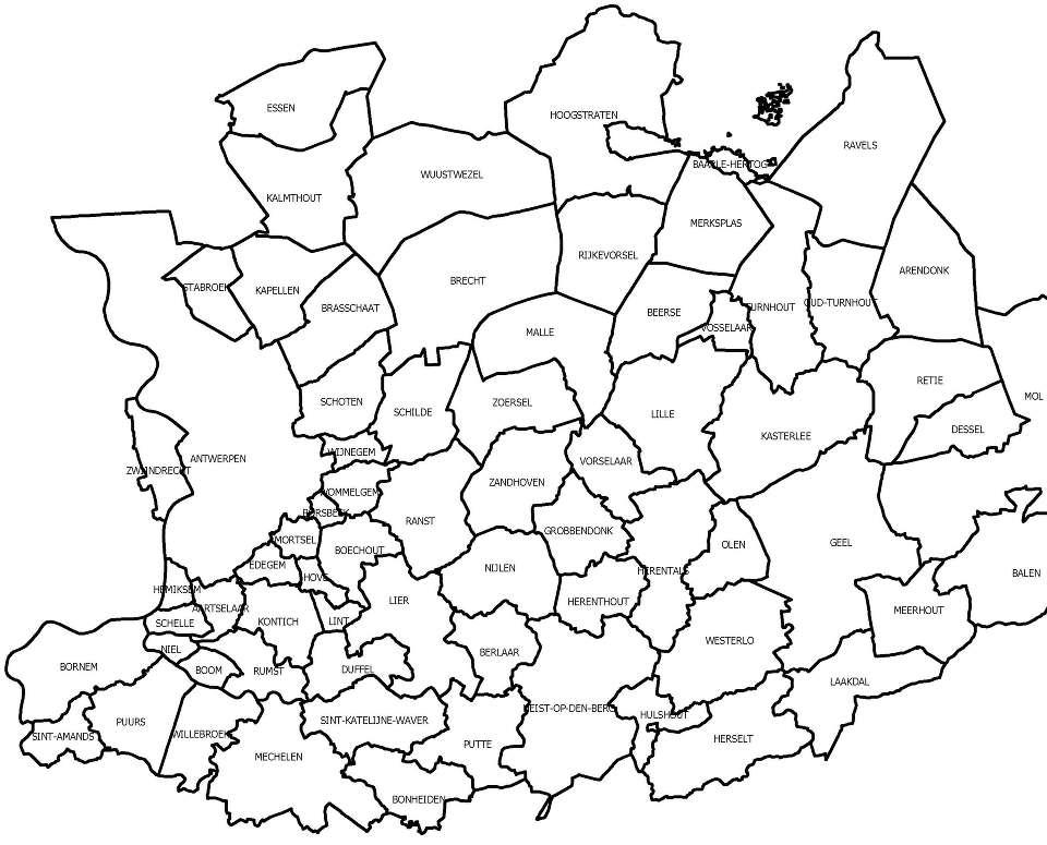 De kaart van de provincie Antwerpen.