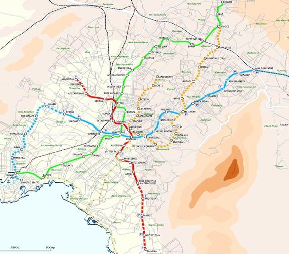 Metrokaart van Athene.