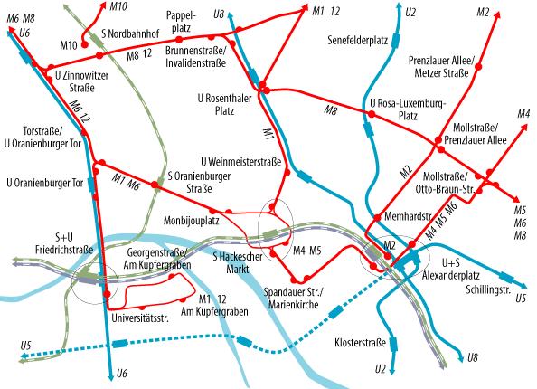Tramkaart van Berlijn.
