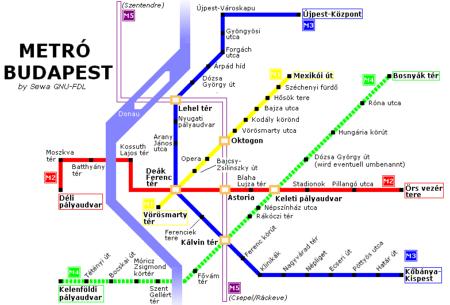 Metrokaart van Boedapest.