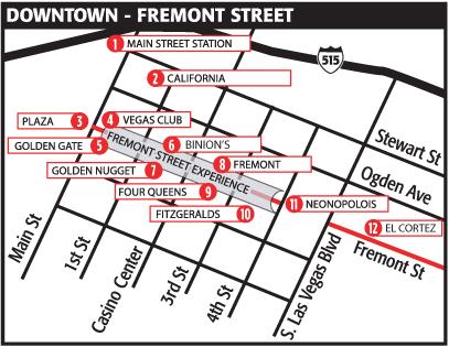 Plattegrond van downtown Las Vegas - Fremont Street.