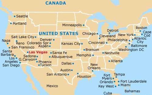 De kaart van de Las Vegas, Nevada, Verenigde Staten.