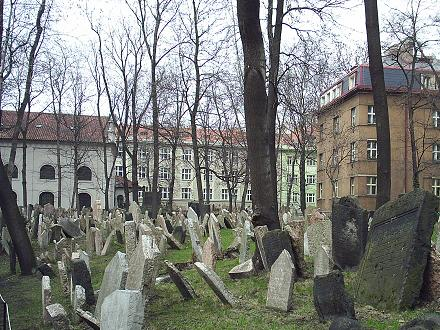 Oude Joodse begraafplaats: Stary zidovsky hbitov. Op deze begraafplaats werden alle Praagse Joden tot 1787 begraven, in dat jaar kwam er namelijk een nieuwe begraafplaats. Deze plek is één van de engste plekken in Praag die doet denken aan de grote Joodse gemeenschap toendertijd. Er staan maar liefst 12.000 grafzerken op dit kleine stukje grond.