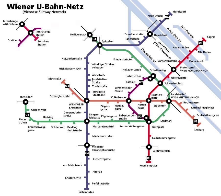 Metrokaart van Wenen.
