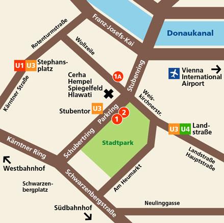 De kaart van de stad Wenen.